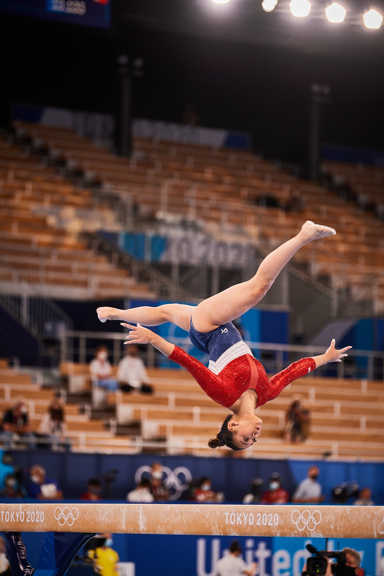 Photo: Team USA's Sunisa Lee, from Saint Paul Minnesota, competes on the balance beam in Rotation 3 of the women's gymnastics team final with a strong performance during the 2020 Tokyo Olympics at Ariake Gymnastics Center in Tokyo, Japan.