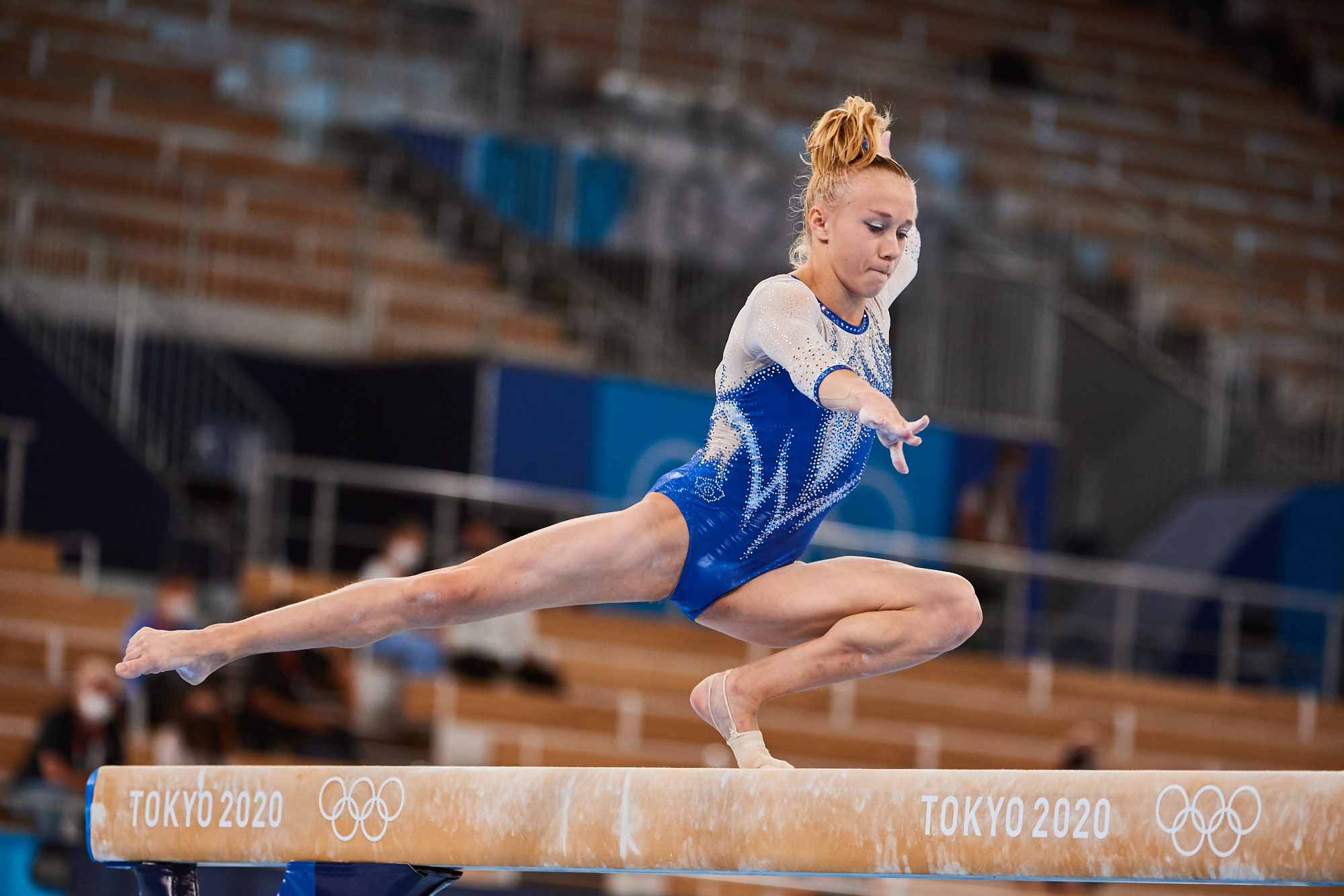 Photo of ROC's Viktoriia Listunova, delivers a strong performance on the balance beam in Rotation 3 of the women's gymnastics final during the 2020 Tokyo Olympics at Ariake Gymnastics Center in Tokyo, Japan.